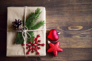Christmas homemade gift on a wooden background